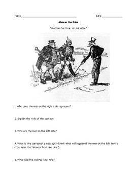 Monroe Doctrine Political Cartoon Worksheet ans Answer Key