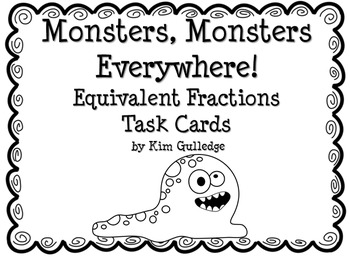 Monsters Equivalent Fractions Task Cards with QR Codes by