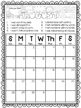 EDITABLE!!! Monthly Behavior Calendars for 2017-2018 by