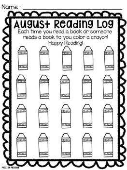 Reading Log for Preschool, Pre-K, and Kindergarten by