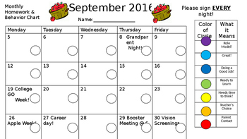 EDITABLE Monthly Homework & Clip Chart Keeper by The Green