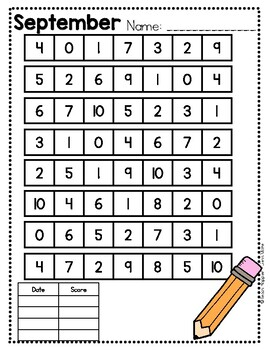 Monthly Number ID Fluency Practice 0-20 by Teach Happier