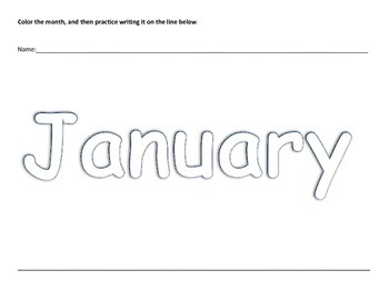 Months of the Year Preschool Coloring Writing Practice