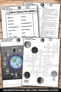 Lunar Cycle, Moon Phases Worksheet, Science Crossword