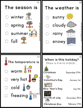 Morning CALENDAR and WEATHER TASK CARDS for Life Skills