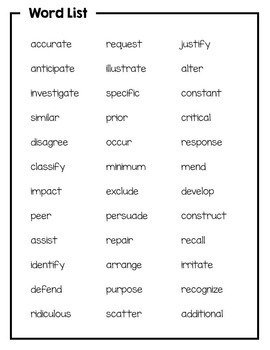 Academic Vocabulary For 3rd Grade Morning Work Or Word Work  Tpt