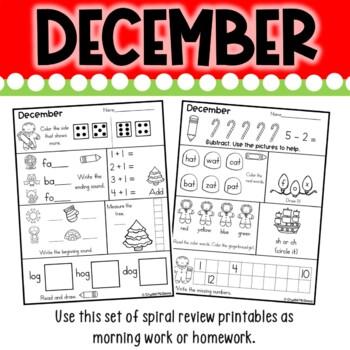 Morning Work or Homework! December Christmas Kindergarten