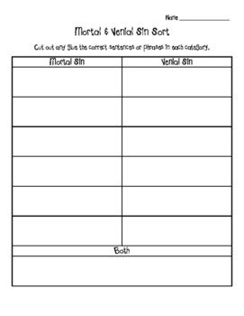 Mortal And Venial Sin Worksheet : mortal, venial, worksheet, Mortal, Venial, Buckett