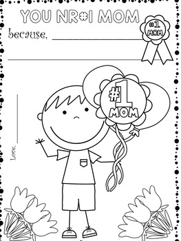Mother's Day Writing and Coloring 32 PAGES for Pre-K-3nd