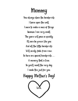 Mother's Day Handprint Poem Template by Early Childhood