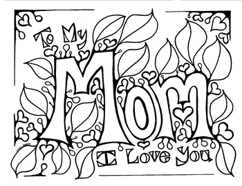 Mother's Day coloring page for Mom. Birthday. by Miss