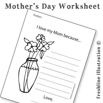 Mother's Day Printable, Worksheet, Coloring Sheet, For Mom