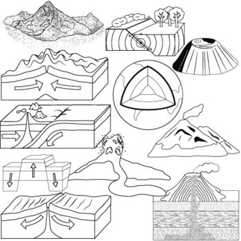 Mountains, Volcanoes and Earthquakes Clip Art by Studio