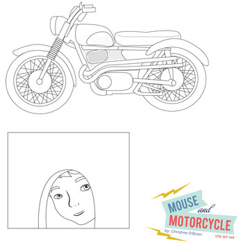 Mouse and Motorcycle Clip Art Set by Christine O'Brien