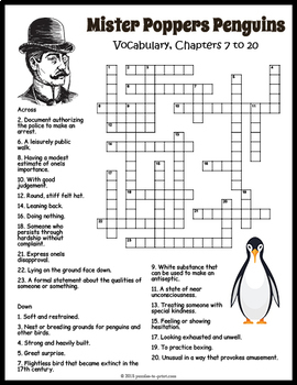 Mr. Popper's Penguins Crossword Puzzles by Puzzles to