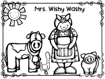 Mrs. Wishy Washy Story Retelling Stick Puppets with Tub