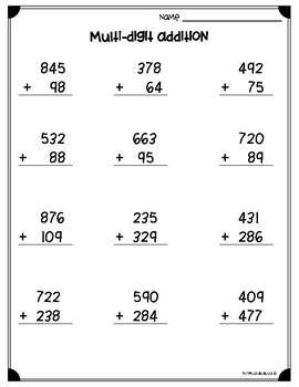 Multi-Digit Addition & Subtraction Worksheets (3.NBT.A.2