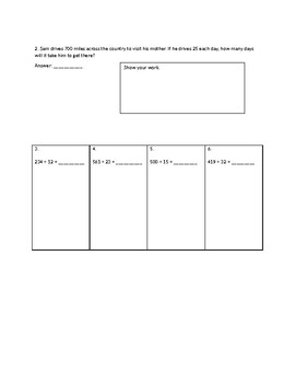 Multi Digit Multiplication & Division Test by Fifth
