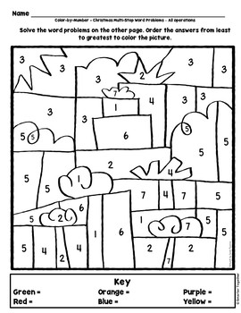 Multi-Step Word Problems 4th Grade Christmas Math by