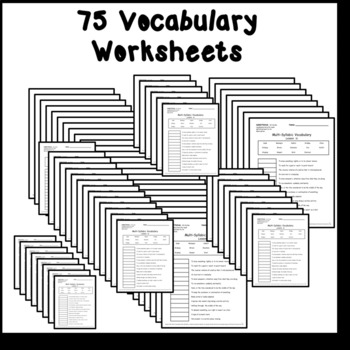 Multi-Syllabic Vocabulary Worksheets Aligned to REWARDS