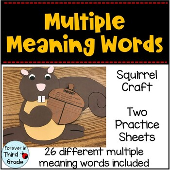 Multiple Meaning Words Craft By Forever In Third Grade Tpt