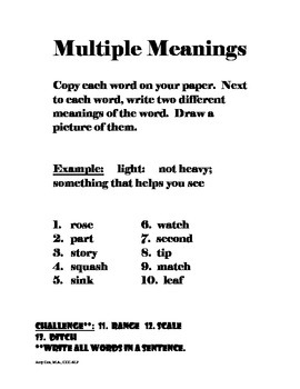 Multiple Meaning Words Worksheets by Georgia Speech