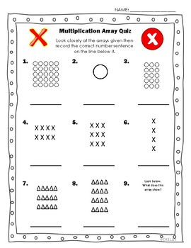 Multiplication Array Quiz By Darleina Kelln