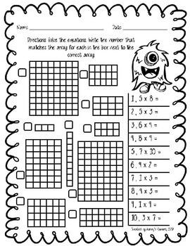 3rd Grade Multiplication: Array Worksheets and Task Cards