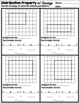 Multiplication, Arrays, & Distributive Property: Vocab