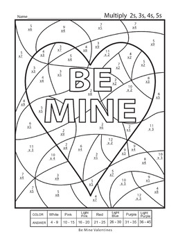 Multiplication Color by Numbers Valentines Day Worksheet