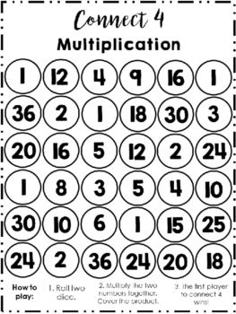 Multiplication Connect 4 (Includes Rules and Chart