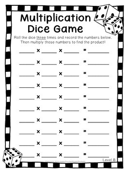Multiplication Dice Game: 4 Versions included