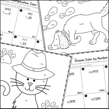 Multiplication, Division, and Decimal Operations Coloring