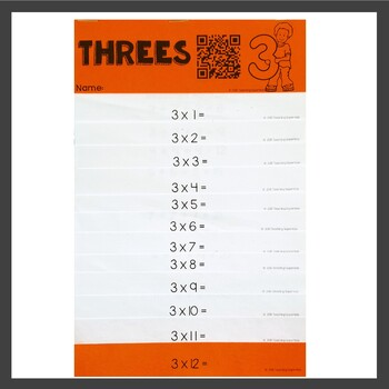 Multiplication Activities Flip Book Three Times Tables by