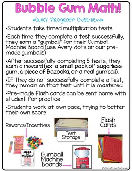 Multiplication Math Facts Timed Tests Bubble Gum Math