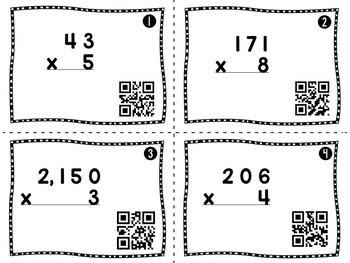 Multiplication Task Cards with QR Codes Multi-digit by one
