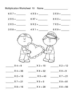 Multiplication Worksheets---Seasonal Review Packet by