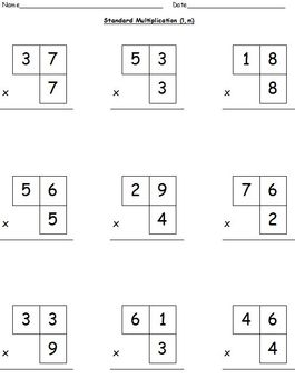 Multiplication Worksheets-Lattice, Partial Products