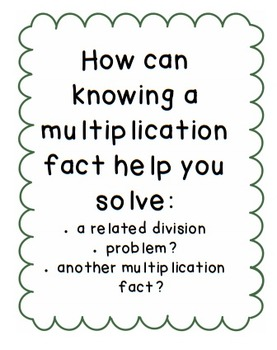 Multiplication and Division Essential Questions (CCSS) by