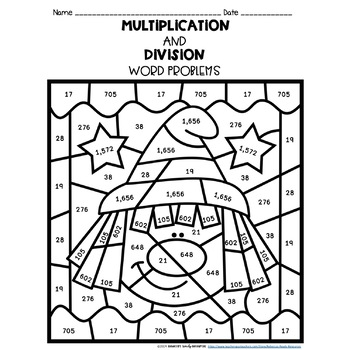 Multiplication and Division Word Problems: Color by Number