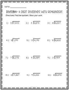 Division For 4th Grade Worksheets   Free Worksheet