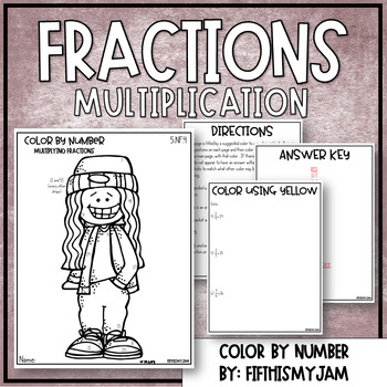 Multiplication with Fractions Color By Number 5.NF.4 by