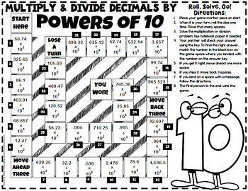 Multiply Decimals by Powers of 10 Game (and Divide): 5th