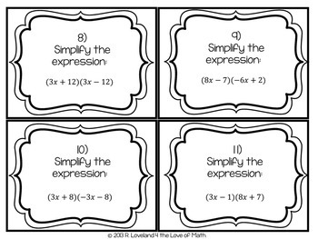 Multiplying Binomials: 30 Task Cards by 4 the Love of Math