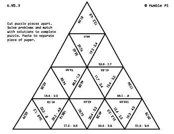 Multiplying Decimals Triangle Puzzle- 6.NS.3 by Humble Pi
