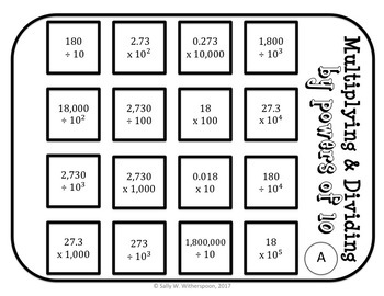 Multiplying + Dividing Decimals by Powers of 10 Game (w