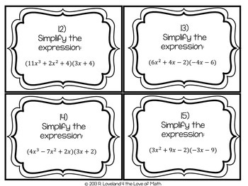 Multiplying Polynomials: 30 Task Cards by 4 the Love of