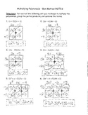 Multiplying Polynomials Box Method Worksheets & Teaching