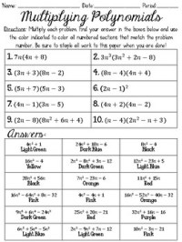 √ Multiplying Polynomials Worksheet Coloring Activity ...