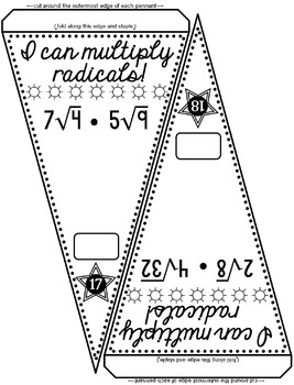 Multiplying Square Roots Pennant Activity by Scaffolded